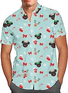 Christmas Mickey & Minnie Reindeers Disney Inspired Mens Button Down Short Sleeve Shirt