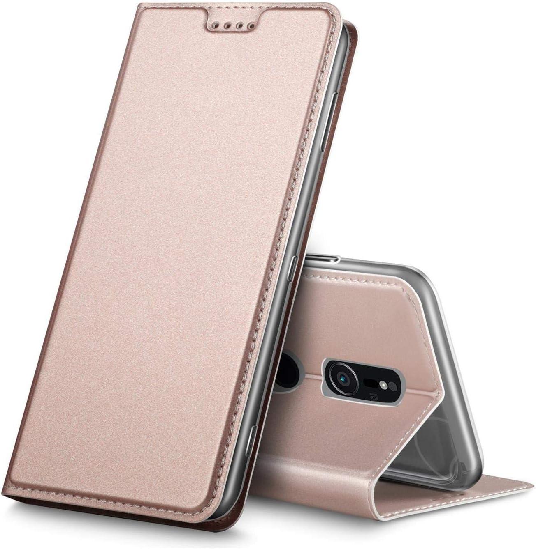 Verco Funda para Sony Xperia XZ3 PU Cuero Flip Folio Carcasa Soporte Plegable Ranuras para Tarjetas para teléfono móvil Xperia XZ3 Cubierta, Rosa