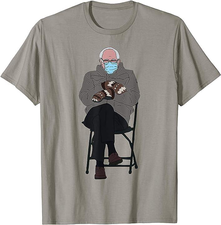 Maglietta t-shirt bernie sanders inauguration day meme | mittens gloves bored 65YE3PMZHCE