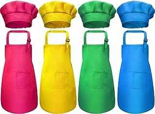 boogift Delantal para Niños y Conjunto de Gorro,Cocinero de