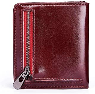 Mens Leather Bag Popular Men's Purse Short Style Leather Change Sandwich Layer Cowhide Bag Bag (Color : Red, Size : S)