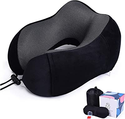 OneCut Travel Pillow Memory Foam Neck Pillow with Eye Sleep Mask, Ear Plugs and Carrying Case, Perfect Suit Brings Comfortable Head Support for Flying, Trains, Rest and Reading (Black)