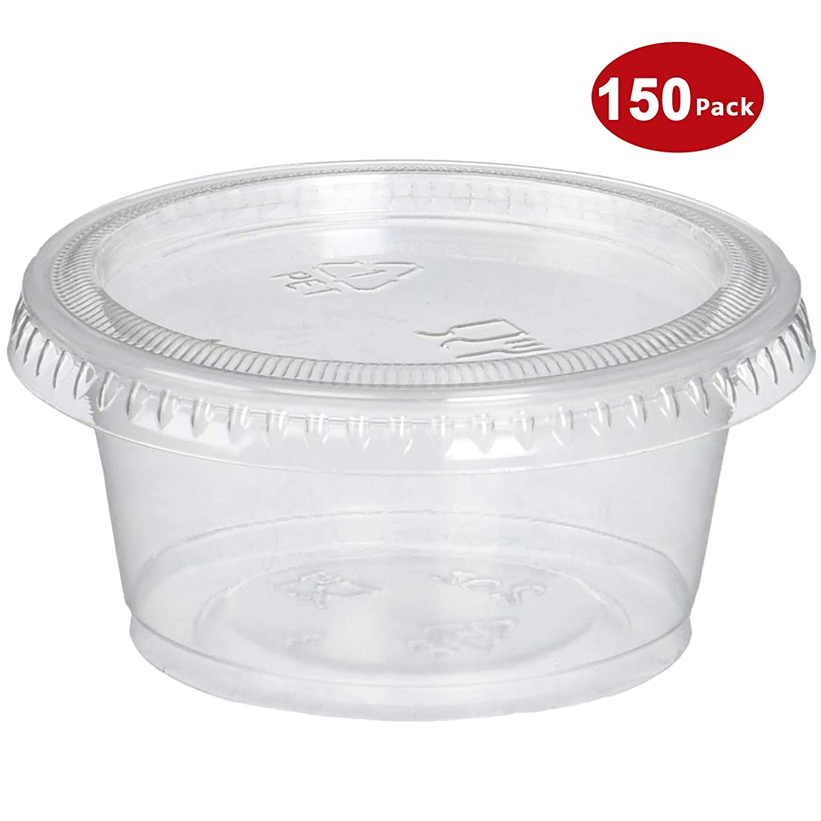 Plastic Portion Cups with Lids 2 oz. Pack of 150 Jello Shot Cup Salad Dressing Containers for Sauce Condiment Snack Souffle and Salsa, BPA Free - by DuraHome?