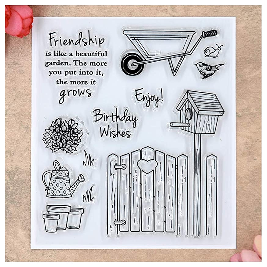 Kwan Crafts Friendship Birthday Wishes Enjoy Garden Clear Stamps for Card Making Decoration and DIY Scrapbooking