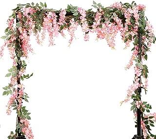 Summer Flower 5.6 Feet/pcs Artificial Silk Wisteria Vine Rattan Silk Hanging Flower Garland Ivy Plants for Outdoor Wedding Party Home Garden Wall Decoration,Pack of 2 (A-Pink)