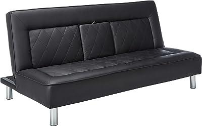 Amazon.com: Sofa Bed Couches Sleeper Sofas-Black Faux ...
