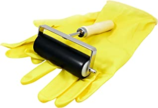 4 Inch Multipurpose Hard Rubber Brayer Ink Roller Tool with Sturdy Steel Frame for Crafts, Printmaking, Vinyl, Block Printing, Acrylic Paint, Card Making Comes with a Pair of Reusable Latex Gloves