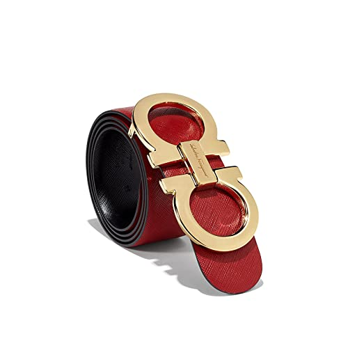 5e44f20275 Salvatore Ferragamo Black Red Reversible Big Gold Buckle Belt
