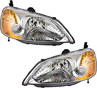 Driver and Passenger Headlights Headlamps Replacement for Honda 33151S5AA01 33101S5AA01