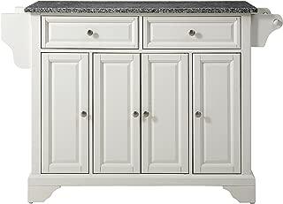 Crosley Furniture LaFayette Kitchen Island with Solid Grey Granite Top - White