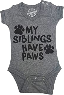 Creeper My Siblings Have Paws Cute Dog and Cat Baby Jumpsuit for Newborn