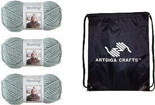 Bernat Knitting Yarn Roving Low Tide 3-Skein Factory Pack (Same Dyelot) 161100-98 Bundle with 1 Artsiga Crafts Project Bag
