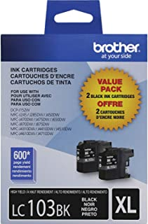 Brother Genuine High Yield Black Ink Cartridges, LC1032PKS, Replacement Black Ink, Includes 2 Cartridges of Black Ink, Pag...
