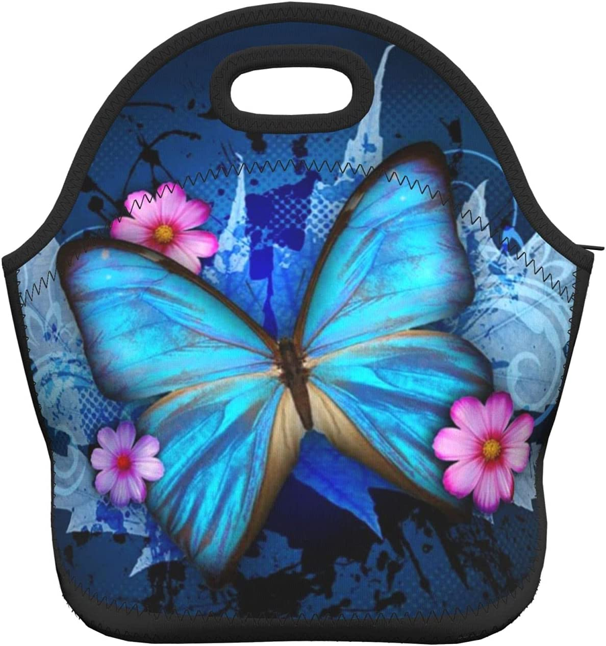 Pretty Butterfly With Flowers Neoprene Lunch Bag Insulated Lunch Box Cooler Bag Tote Portable Reusable Lunch Bags For Men Women Adults
