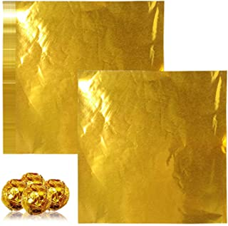 Chocolate Candy Wrappers Aluminium Foil Paper Wrapping Papers,200 Pack Extra-Large Square Sweets Lolly Paper Food Candy Ti...