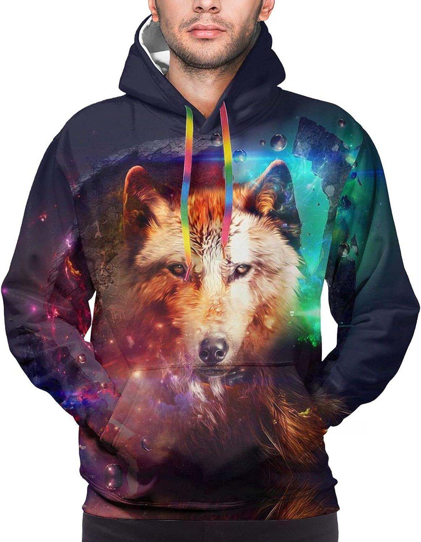 Hoodie For Mens Womens Teens Space Colorful Wolf Double-Sided 3d Sweatshirt Hoodie