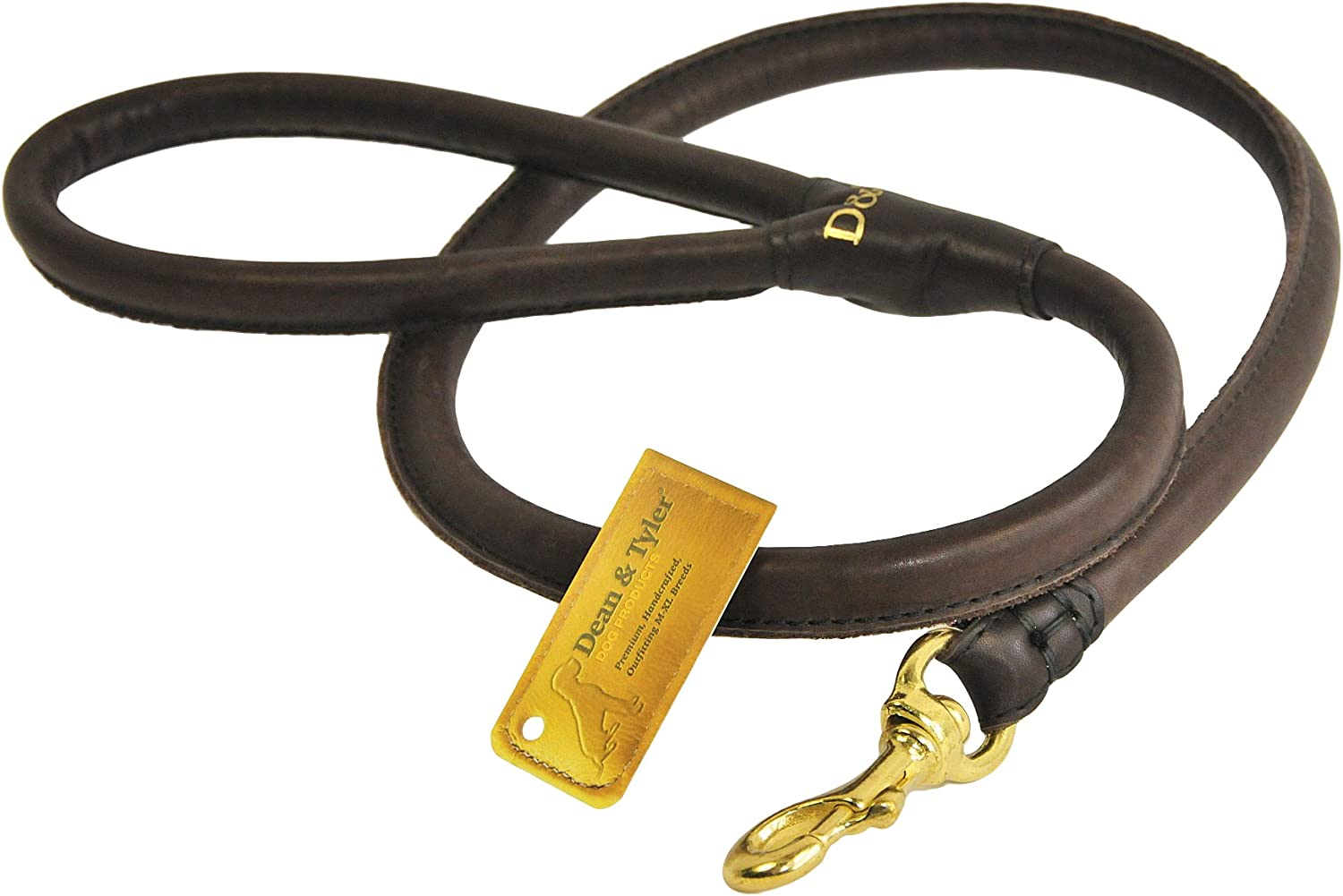 Dean & Tyler  Tamed Beauty  Dog Best Selling Rolled Leather Leash  High Quality Leather From Europe  BROWN  4 Foot  1 2  Diameter  Great for Everyday Use  Available in Different Size.