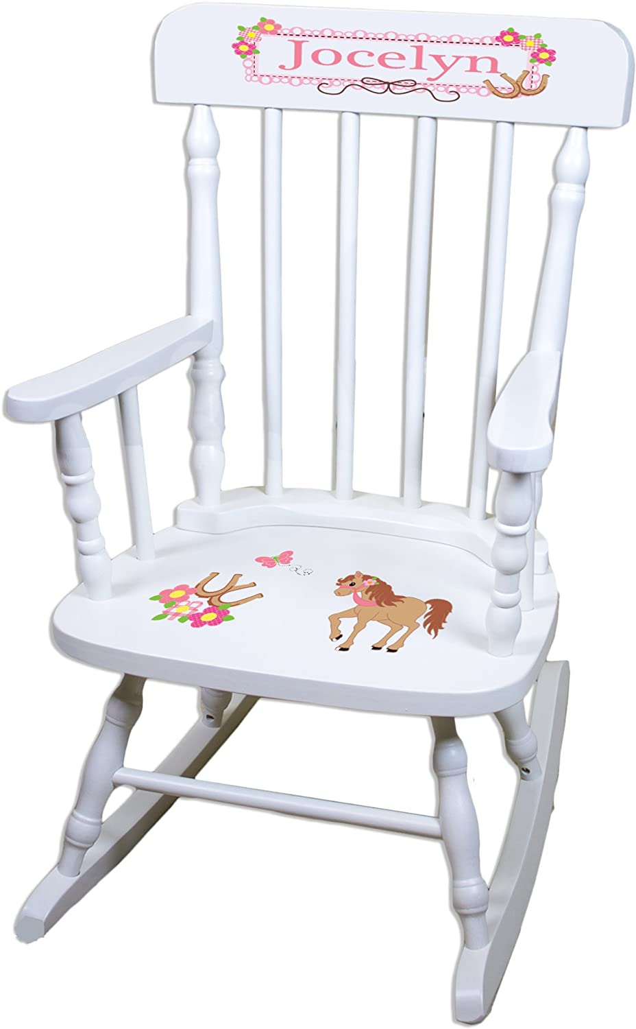 Personalized Ponies Prancing Limited time sale Colorado Springs Mall White Rocking Childrens Chair