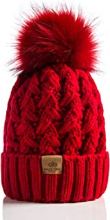 Womens Winter Ribbed Beanie Crossed Cap Chunky Cable Knit Pompom Soft Warm Hat Red
