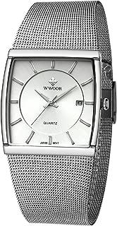 Wwoor Waterproof Luminous Men's Square Quartz Watch Silver