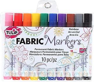 Tulip Permanent Fabric Brush Tip Markers, Rainbow, Set of 10