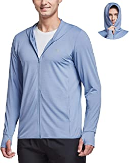 Men's UPF 50+ Full Zip Light Jacket Hooded Cooling Shirt with Pocket Quick Dry Hiking Fishing Outdoor Performance