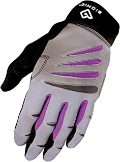 Bionic Gloves Women's Premium Full Finger Fitness Gloves, Gray/Purple (Pair)!