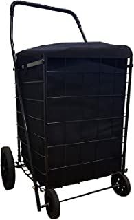 MegaCart Fold-Up Collapsible Folding Grocery Laundry Shopping Utility Cart by SCF (Black) with Liner