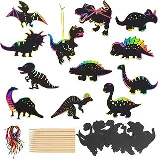 HAKOTOM 48PCS DIY Cartes à Gratter de Dinosaure Dessin à Gratter pour Enfants, ,24 Stylets en Bois pour Dessin 48 Rubans M...