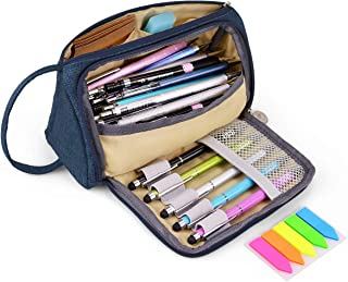 Big Capacity Pencil Pen Case Abrzon Pencil Bag Pouch Holder for Middle High School Office College Girl Adult Large Storage Blue
