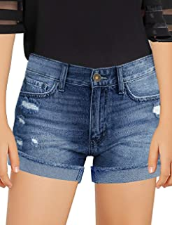 GRAPENT Girls Ripped Folded Raw Hem Shorts Pockets Denim Jeans Shorts 4-13 Years
