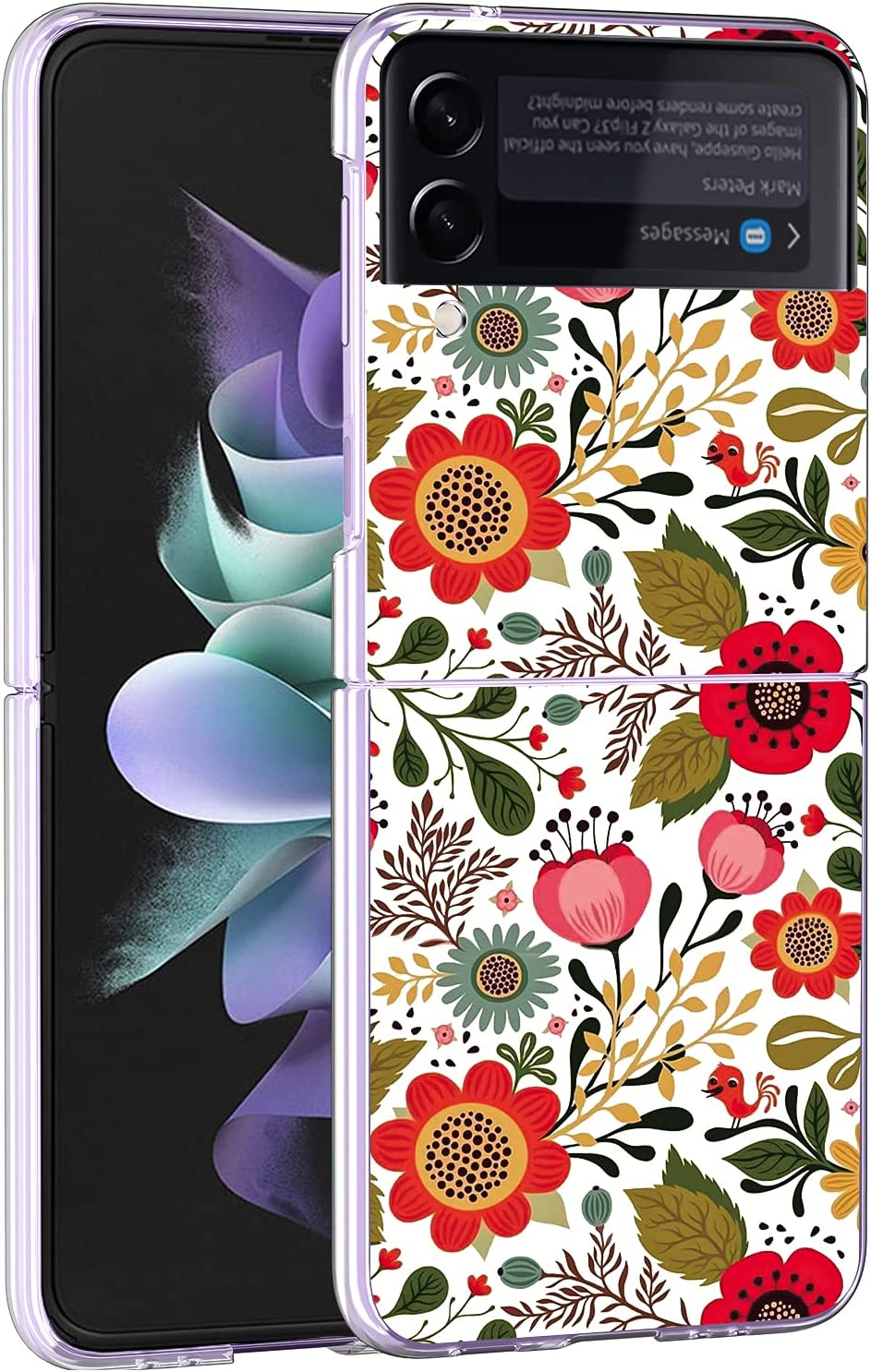 Newseego Compatible with Samsung Galaxy Z Flip 3 Clear Case, Fashion Cute Flower Floral Shockproof Protective [Slim Thin] Crystal Hard PC Anti-Scratch Pretty Cover Design for Girls Women-Garden Party