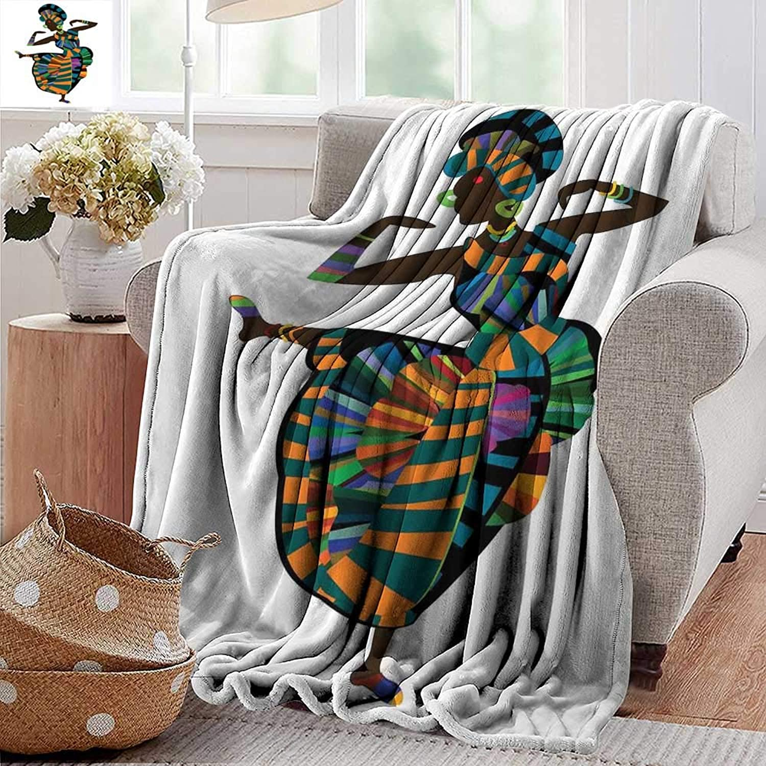 PearlRolan Beach Blanket,African Woman,Black Girl in a Traditional Dress Performing an Ethnic Dance Native Zulu,Multicolor,300GSM, Super Soft and Warm, Durable 50 x60