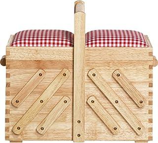 صندوق الخياطة من بريم، خشبي، بني، بيج، M