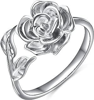 Rose Flower Ring for Women S925 Sterling Silver Adjustable Wrap Open Ring