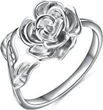 Alphm Rose Flower Ring for Women S925 Sterling Silver Adjustable Wrap Open Ring