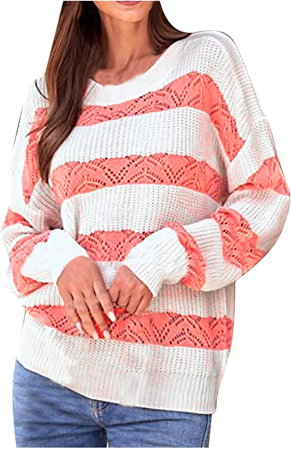 Afelkas Women's Sweater Striped Color Block Shirt Ladies Long Sleeve O Neck Casual Loose Tunic Knitted Hollow Pullover