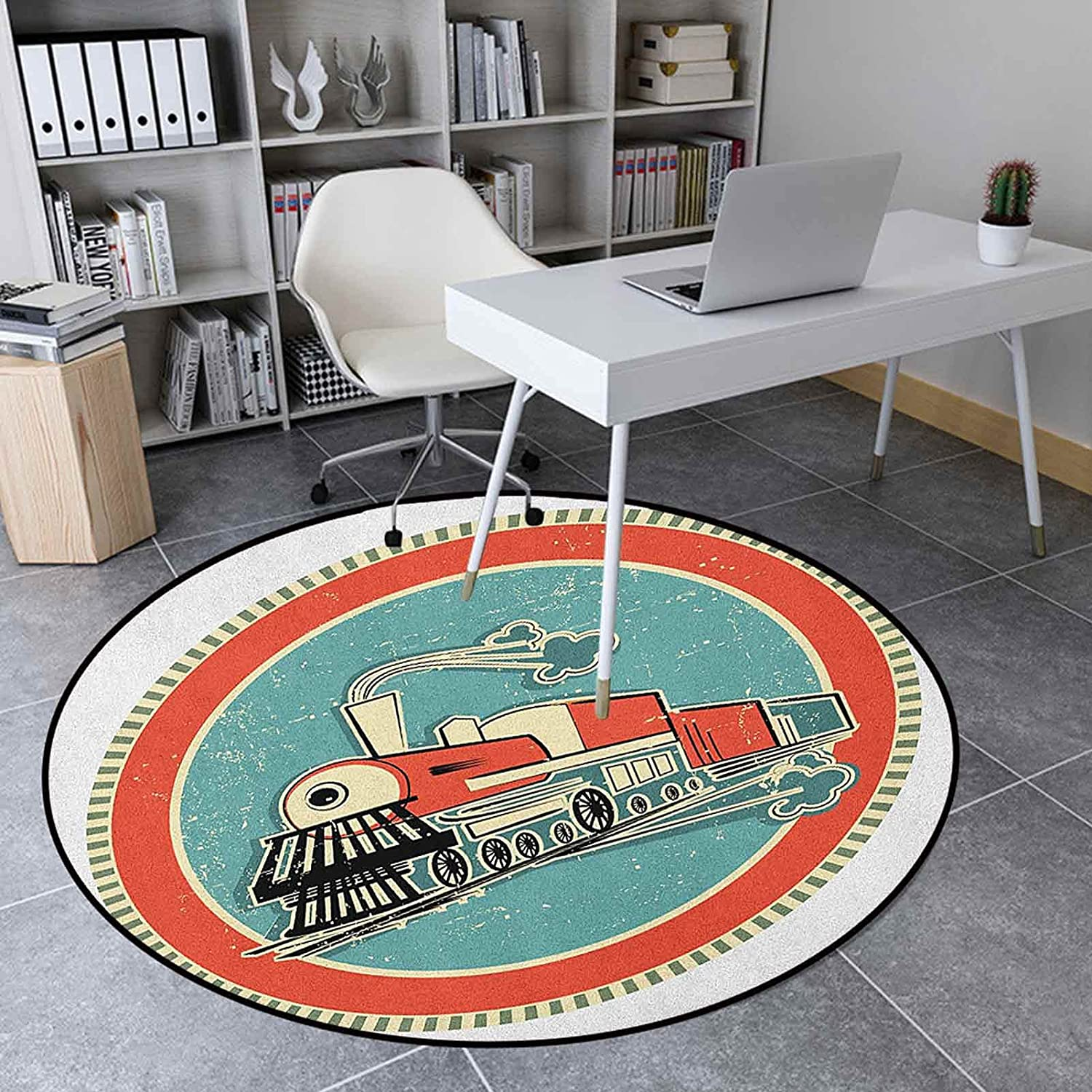 Steam Engine Round Rugs 3.9 Ft Circle Inches Bedr Kids Our shop OFFers the best service for Ranking TOP4
