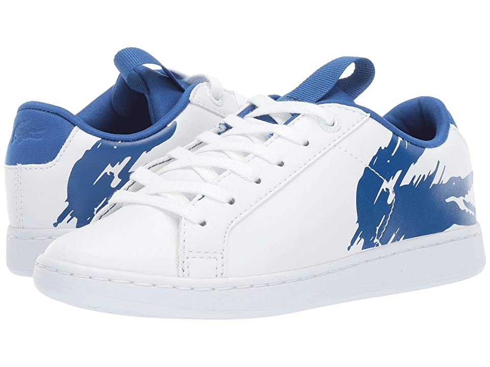 Lacoste Kids Carnaby Evo (Little Kid) (White/Blue) Kids Shoes