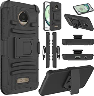 Elegant Choise Moto Z Play Case, Moto Z Play Holster Case, Heavy Duty Dual Layer Full Body Protective Kickstand Case Cover with Belt Clip Holster Case for Moto Z Play Droid (Black)