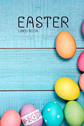 Easter Lined Book: Sky Blue Color 6x9 100 Pages Blank Lines Notebook - Festival Easter Eggs Day, Small Diary , Cute Gifts For Women / Girls / Kids