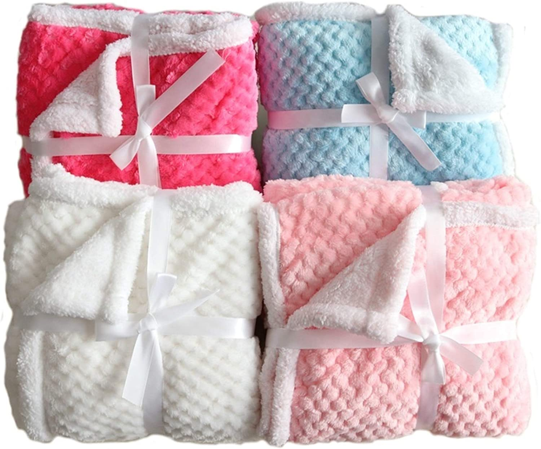 wmx Couvertures bébé for Garder Couverture Chaude en Peluche Grille Poussette bébé Literie de bébé Couverture Enveloppé (Color : Blue A) Pink B