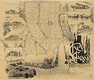 Vintage 1890 Map of Chevy Chase, Section 2, adjacent to Washington D.C. Chevy Chase Village, Maryland, United States