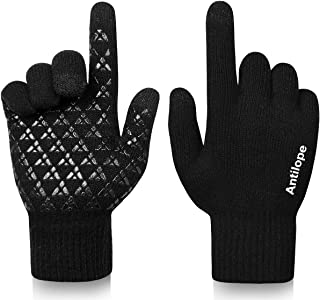 Antilope Winter Gloves for Men Women-Upgraded Touchscreen Gloves Anti-Slip Texting Gloves-Elastic Cuff Thermal Soft Liners
