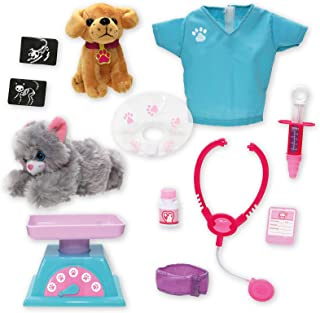 Beverly Hills Doll Collection Pet Veterinarian 12 Piece Dr. Dolly Vet Pretend Playset for 18 Inch Dolls with a Plush 6 Inc...