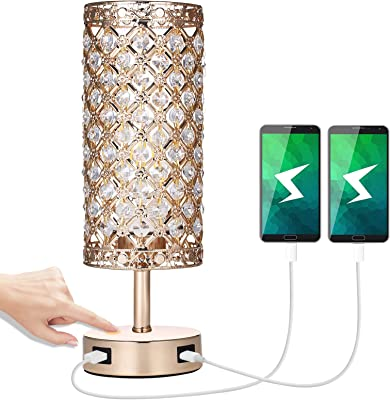 Touch Crystal Bedside Table Lamp with 2 USB Port Golden Crystal Shade USB Lamp 3 Brightness Modern Table Lamp for Living Room Bedrooms (Bulb Included)