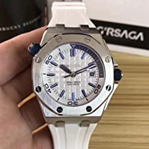 Luxury Brand Stainless Steel Silver Color White dial Automatic Movement Whie Rubber Strap Diver's Oak Watch Watches