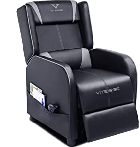 Vitesse Gaming Recliner Chair Racing Style Single Ergonomic Lounge Sofa Modern PU Leather Reclining Home Theater Seat for Living & Gaming Room (Grey)