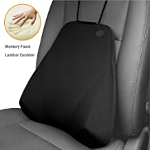 QBUC Car Back Support, Car Lumbar Pillow for Back/Spine/Coccyx Pain Relief, Memory Foam Lumbar Support Pillow - Comfort Back Cushion for Car seat, Office Chairs, Travel and Home (Black)