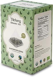Yikfong Organic Tea Gunpowder Green, 20 Tea Bags, Full-leaf green tea pearls in Triangle Filter Tea Bag